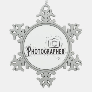 Photographer Snowflake Pewter Christmas Ornament