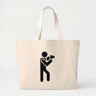 Photographer Symbol Side Large Tote Bag