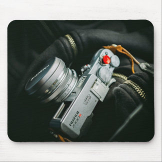 Photographer Themed, A Picture Of A Silver Camera Mouse Pad