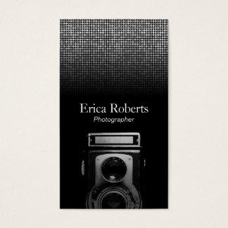 Photographer Vintage Camera Modern Silver Sequins Business Card