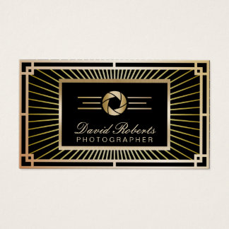 Photographer Vintage Gold Art Deco Modern Business Card