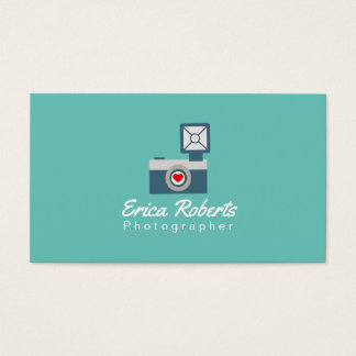 Photographer Vintage Teal Camera Photography Business Card