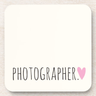 Photographer with Heart Beverage Coaster