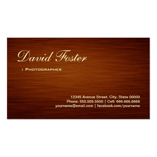 Photographer - Wood Grain Look Business Card Template