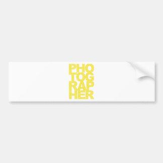Photographer - Yellow Text Car Bumper Sticker
