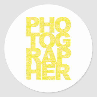 Photographer - Yellow Text Classic Round Sticker