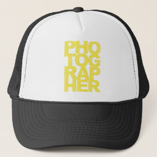 Photographer - Yellow Text Trucker Hat