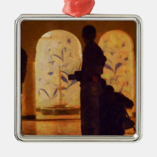 Photographers in silhouette metal ornament