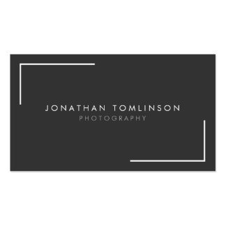 Photographers Modern and Minimal Frame Dark Gray Double-Sided Standard Business Cards (Pack Of 100)
