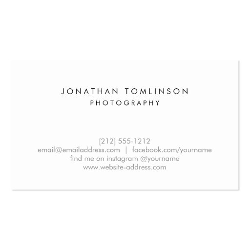 Photographers Modern and Minimal Frame White Business Card (back side)