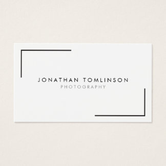 Photographers Modern and Minimal Frame White Business Card