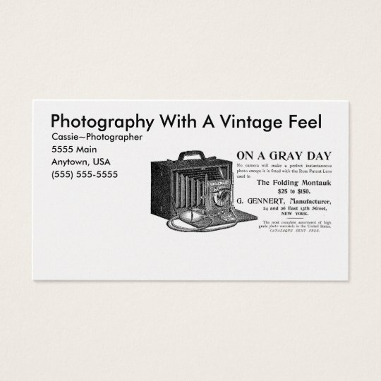 Photographer's Vintage Camera Business Card