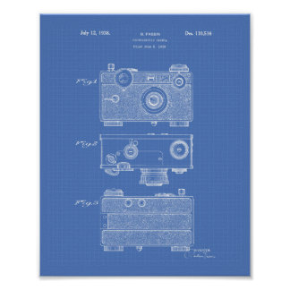 Photographic Camera 1938 Patent Art - Blueprint Poster