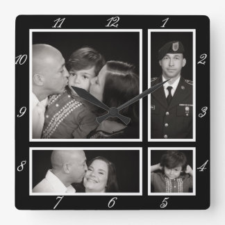 Photographic Collage Four Modern Family Decor Square Wall Clock