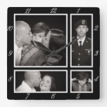Photographic Collage Four Modern Family Decor Square Wall Clocks