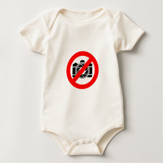 Photographic icon with red stop symbol baby bodysuit