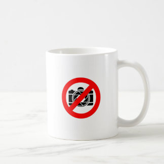 Photographic icon with red stop symbol coffee mug