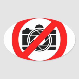 Photographic icon with red stop symbol oval sticker