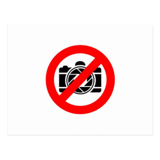 Photographic icon with red stop symbol postcard
