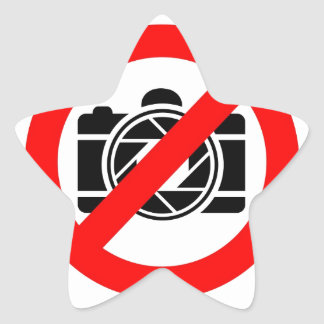 Photographic icon with red stop symbol star sticker