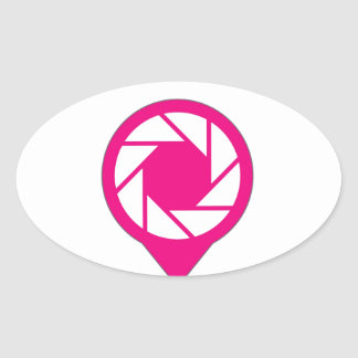 Photographic placement icon oval sticker