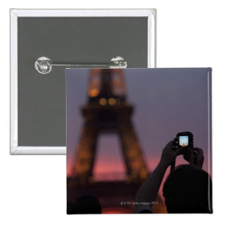 Photographing the Eiffel Tower with a smartphone Pinback Button