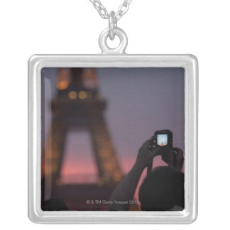 Photographing the Eiffel Tower with a smartphone Square Pendant Necklace