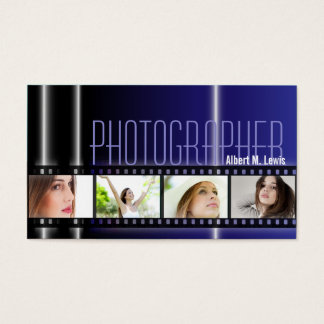 Photography 35mm Film Photo Business Card Blue