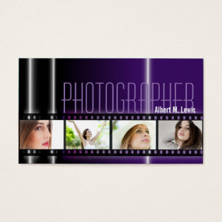 Photography 35mm Film Photo Business Card Purple