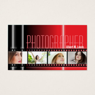 Photography 35mm Film Photo Business Card Red