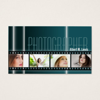 Photography 35mm Film Photo Business Card Teal