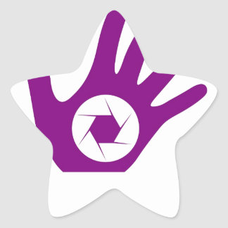 Photography aperture in a hand star sticker