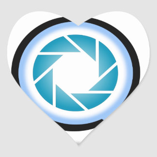 Photography aperture in alphabet Q Heart Sticker