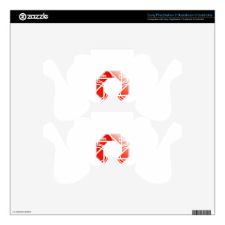 Photography aperture on a hexagonal stop sign decal for PS3 controller