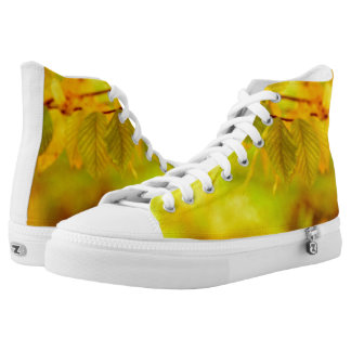 Photography - autumn beech leaves + your ideas High-Top sneakers