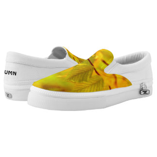 Photography - autumn beech leaves + your ideas Slip-On sneakers