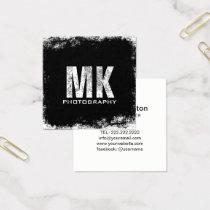 Photography Bold Monogram Grunge Photographer Square Business Card