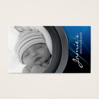 Photography Business Card Photo Template Blue