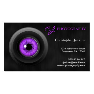 Photography Camera Lens Amethyst Business Card Business Card Templates