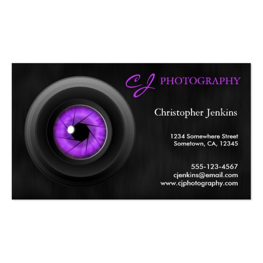 graphy Camera Lens Amethyst Business Card Business