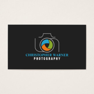 Photography Camera Shutter Green Orange Blue Gray Business Card