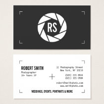 Photography camera simple black and white modern business card