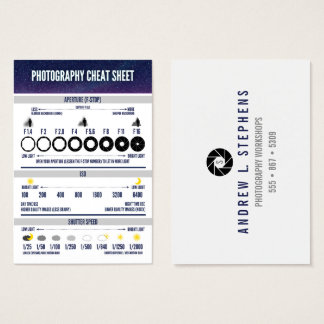 Photography Cheat Sheet Custom Business Card
