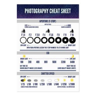 Photography Cheat Sheet Custom Large Business Card