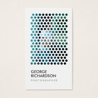 PHOTOGRAPHY CIRCLES PATTERN in WHITE (Vertical) Business Card