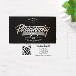 Photography classy vintage typographic emblem business card