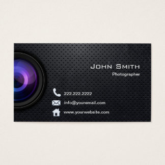 Photography Cool Black Metal Professional Business Card
