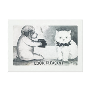 5165e411 Photography Dog Taking a Photo of a Unhappy Cat Canvas Print