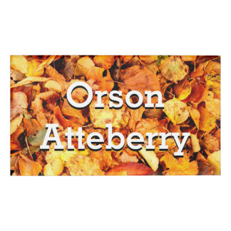 Photography - dry autumn leaves + your ideas name tag