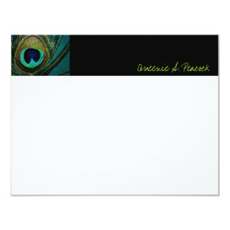 "Photography Elegant Peacock Feathers Thank You 4.25"" X 5.5"" Invitation Card"